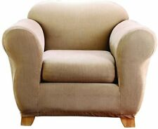 sure fit Stretch Stripe 2 Piece Chair Slipcover Box Cushion SAND