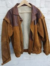Men's Vintage Leather and Suede Leather jacket - With Warm-Wool Lining