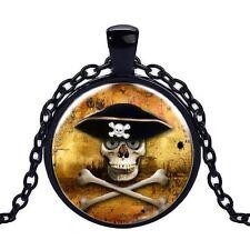 Wholesale Cabochon Glass Black  Chain Pendant Necklace ,Skull logo /94