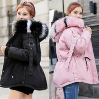 Womens Winter Coat Jacket Down Padded big Fur Collar Warm Short Hooded Outwear