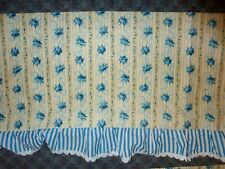 "PR of BALLOON VALANCE CURTAINS 69"" x 16"" - YELLOW & BLUE RIBBONS & ROSES STRIPE"