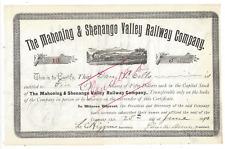 Stk The Mahoning & Shenango Valley Railway 1890 #5 Ohio Ran 6+ miles