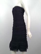 Oscar de la Renta Black Sheared Silk Chiffon Strapless Dress