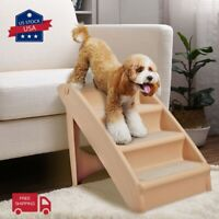 Foldable Pet Stairs 4 Non-slip Steps Dog Cat up to 110 Pounds w/Support Frame