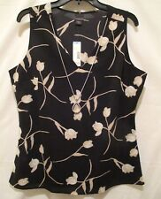 NEW Covington Sz L Fashion Tank Chiffon Blouse Top Black Floral Shirt w Necklace