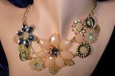 Nude Gold Diamante Choker Statement Bib Necklace Jewel Crystal Bling Lady B4G