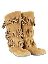 Minnetonka Moccasin 3-layer fringe mid-calf boots size 8