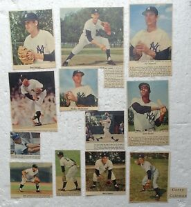 12 New York Yankees 1950'S/60's Color Sunday Newspaper Clippings - Don Larsen +
