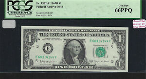 Barr Note, $1 Series 1963-B, Richmond, EF Block, Federal Reserve Note, PCGS66PPQ