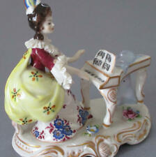 Antique DRESDEN Porcelain Figurine LADY at PIANO Flowers + LACE * VOLKSTEDT