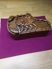 Hand Carved Wooden Scorpion Trinket Puzzle Box