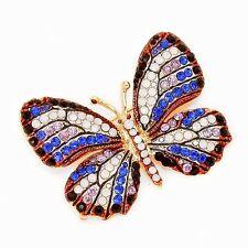 936aa82c0038 Morado Pasta Cristal Austriaco Monarch Butterfly Broche Oro Chapado Pin