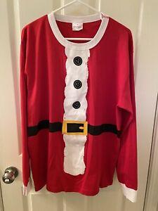 Hanna Andersson Organic Adult Santa Claus St. Nick Long John Pajama Top Size XL