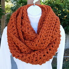 Large INFINITY SCARF LOOP COWL Solid Orange Wide Bulky Big Crochet Knit Winter