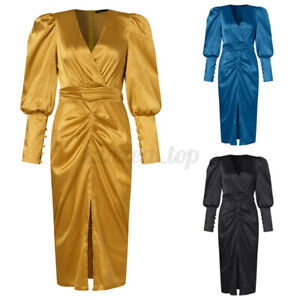 Size Womens V Neck Wrap Satin Dress Ladies Evening Party Gwon Bodycon Dresses UK