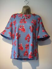Hugo Boss blue and red floral blouse/top size Large