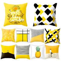 Fashion Geometric Cushion Mustard Yellow and Black Home Decor Sofa Case Cover UK