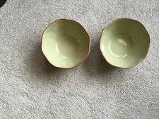 """2  Cantaria by Skyros Designs 6 1/2"""" Soup/Cereal Bowl Sage w/Brown Trim Portugal"""