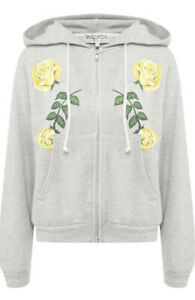 Wildfox Womens Friendship roses WHT16746Y Hoodie Relaxed HTHR Grey Size S