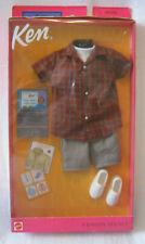 New 2001 Ken Fashion Collectible ~ Jean Shorts w/Plaid Shirt+White Top Outfit