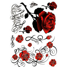 1Sheet Sexy Tattoo Skull Rose Temporary Body Arm Stickers Removable Waterproof ^