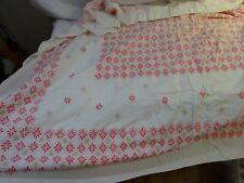 "Vintage 40s Mid Century Cotton Print Tablecloth PINK GEOMETRIC 53"" x 61"""