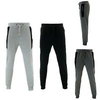 FIL Mens Unisex Fleece Jogger Track Pants Black Zipped Pockets Cuffed Trousers