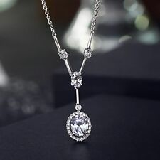 Designer Fashion Sparkly Elegant Clear White 3D Zircon Bridal Necklace Pendant