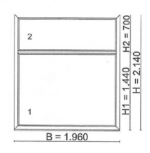 NEU Festverglasung satiniert BxH 1960x2140mm