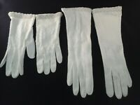 VTG Lot of 2 MCM Beaded Gloves HONG KONG Long/Short 1950s Ivory 7 fits sz 6 *