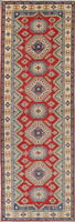 RARE 16 ft WIDE Runner Kazak Geometric Oriental Wool Rug 5' x 16' Red,Blue,Green