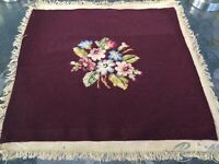 Antique vintage wool needlepoint Pillow/seat/chair cover Burgundy floral garden