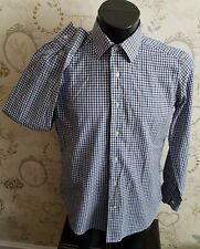 "I. Filangieri Italy Button Cuff Shirt Blue Check 15.5  39"" medium men mans"