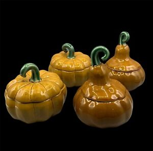 NEW Williams Sonoma Set of 4 Pumpkin Gourd Covered Soup Bowls - Thanksgiving