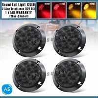 "4"" 12 LED Round Stop Brake Signal Turn Tail Light 12V Smoked Lens 2 Amber 2 Red"