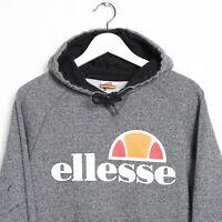 Vintage ELLESSE Big Logo Hoodie Sweatshirt Grey Small S