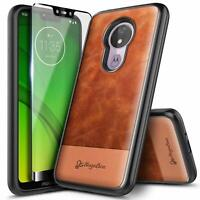 For Motorola Moto g7 Play/g7 Optimo Case Shockproof Leather Cover+Tempered Glass