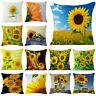 "18"" Pillows Sunflower Cotton Linen Throw Pillow Case Cushion Cover Home Decor"