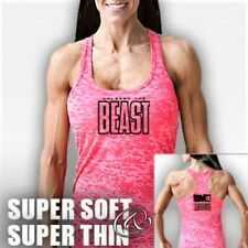 NEW Women's Monsta Clothing UNLEASH THE BEAST Workout Racerback Tank Top: Pink