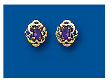 Amethyst Earrings Celtic Earrings Amethyst Studs Yellow Gold Amethyst Earrings