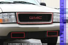 GTG 1998 - 2003 GMC Sonoma 3PC Gloss Black Overlay Combo Billet Grille Grill Kit