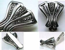 Art Deco-Kleiderclip+Millegriffes & spiegelfeurigen Rosenschliff-Pyriten,Ag 835
