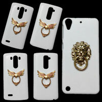 3D Cute Angel Wings Bronze Lion Head Ring Holder Stand Back Hard Case For Phones