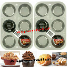 Super Buy! Lot 2 Steel 6 Cup Muffin Cupcake Pans 10 3/8 x 7 x 1 1/8
