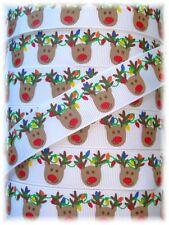 7/8 CHRISTMAS REINDEER LIGHTS GROSGRAIN RIBBON 4 HAIRBOW BOW