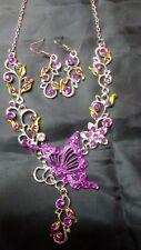 Purple Green Rhinestones Silver Tone Butterfly Drape Necklace & Earrings