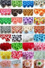 100 ROSE SILK FLOWER HEAD ARTIFICIAL FAKE CROWN DECOR HAIR CLIP KIDS WEDDING