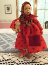 Rare Lenci Doll - Female Peasant with Pig - c. 1930 - cloth body