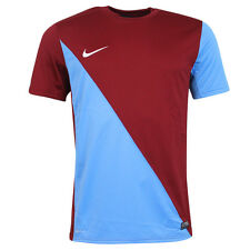 Nike Dri Fit Football Training Top Mens T Shirt Burgundy Blue 448193 677 EE1
