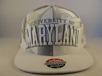 University of Maryland Terrapins Flag Snapback Hat Cap White Gray NCAA Zephyr